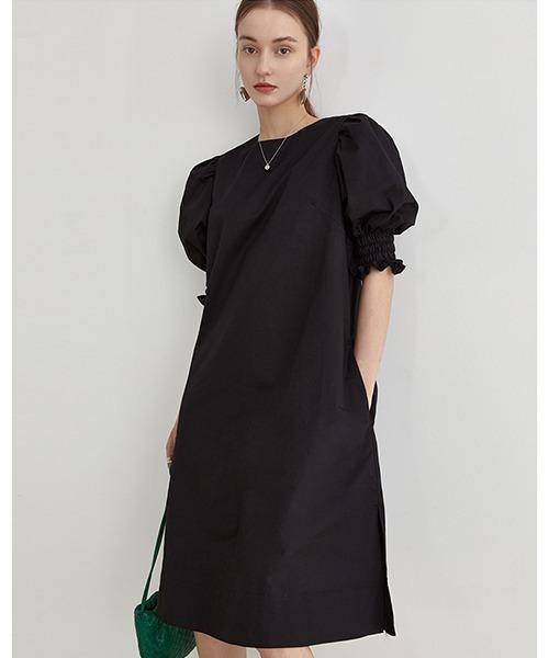 【Fano Studios】【2021SS】Volume puff sleeve black dress FX21L068