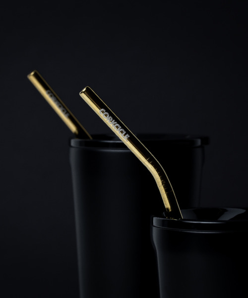 CORKCICLE(コークシクル)の「ステンレスストロー2本セット 専用ブラシ付き [CORKCICLE/コークシクル](グラス/マグカップ/タンブラー)」 ゴールド