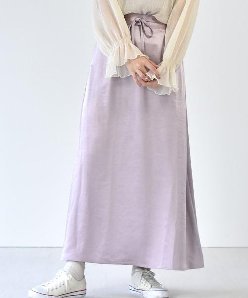 サテンAラインスカート