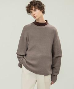 畦編み 袖レイヤード オーバーサイズ ニット(EMMA CLOTHES)