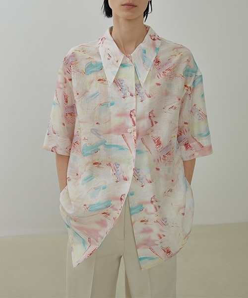 【UNSPOKEN】Watercolor pattern shirt UX20S654