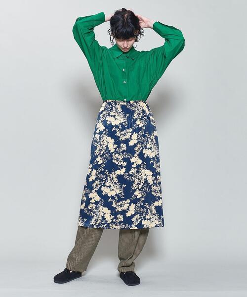 <6(ROKU)>SATIN FLOWER PRINT SKIRT/スカート