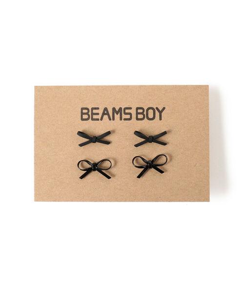 BEAMS BOY(ビームスボーイ)の「BEAMS BOY / ミニ リボン 2P ピアス(ピアス(両耳用))」|ブラック