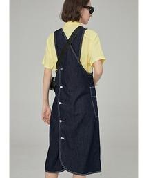 【Fano Studios】White stitch apron denim dress FA19L130ネイビー
