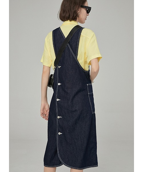 【Fano Studios】White stitch apron denim dress FA19L130