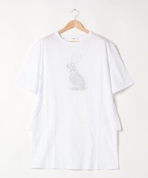 SUPER HAKKA(スーパーハッカ)の「かくれんぼ刺しゅうロングTシャツ(Tシャツ/カットソー)」|ホワイト