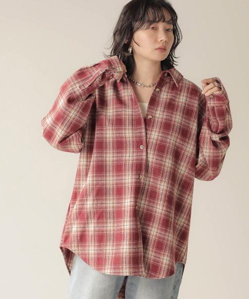 Bab(バブ)の「【WEB限定】ビッグシルエット起毛チェックシャツ(シャツ/ブラウス)」|レッド