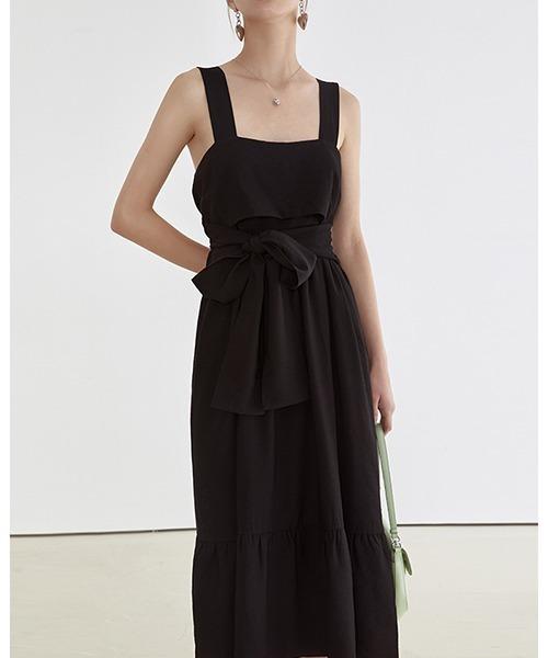 【Fano Studios】【2021SS】Drape waist ribbon dress FX21L071