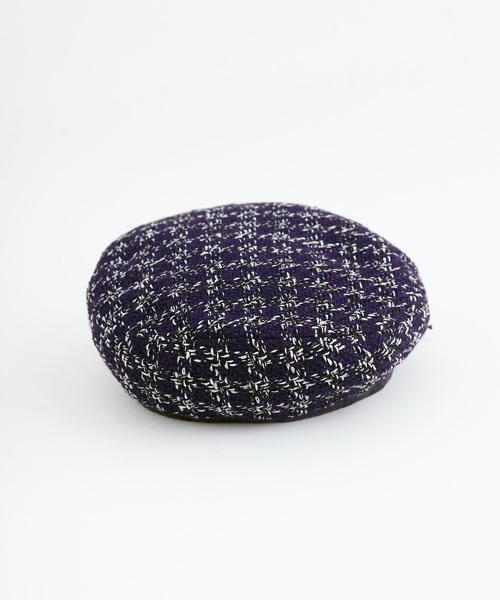 merlot(メルロー)の「ツィードライクパイピングベレー帽3053(ハンチング/ベレー帽)」|ネイビー