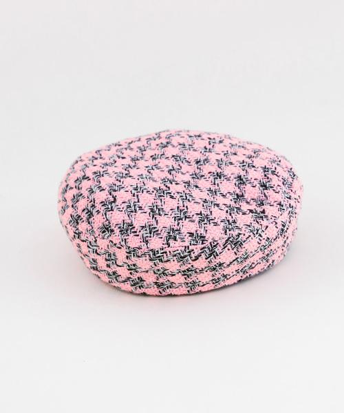 merlot(メルロー)の「ツィードライクパイピングベレー帽3053(ハンチング/ベレー帽)」|ピンク