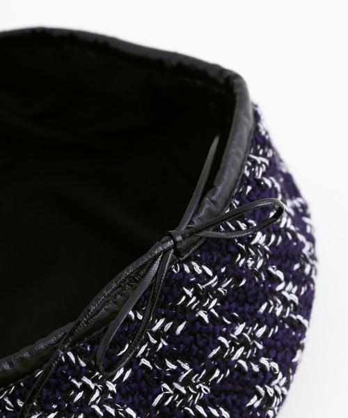 merlot(メルロー)の「ツィードライクパイピングベレー帽3053(ハンチング/ベレー帽)」|詳細画像