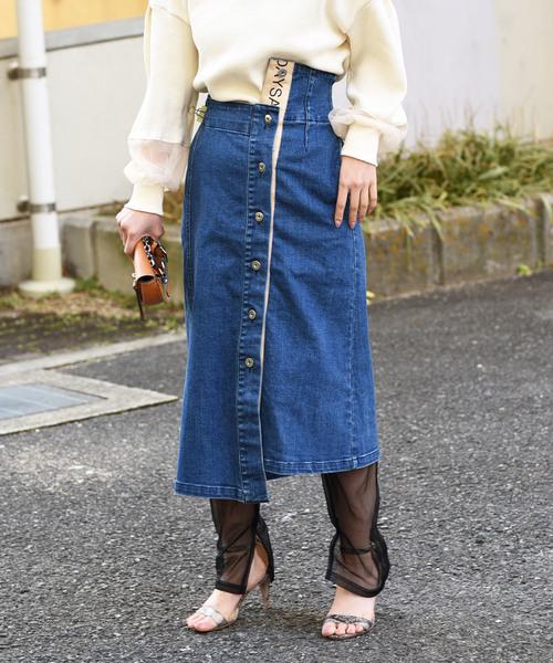 【Eimee Law】ロゴテープポイントデニムスカート