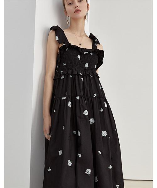 【Fano Studios】【2021SS】Hydrangea embroidery long dress FX21L062