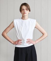 <H>SHOULDER PAD COTTON NO SLEEVE TOP/カットソー