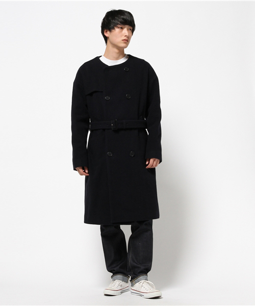 so far Napping Doble Breasted Coat / ソーファー ナッピングノーカラーコート