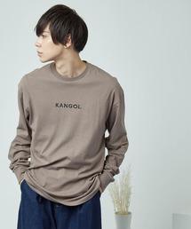 KANGOL/カンゴール コラボ 別注ロゴ刺繍 L/S オーバーサイズカットソー -2021SPRING STYLE-アッシュブラウン