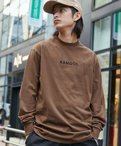 KANGOL(カンゴール)の「▽WEB限定 KANGOL/カンゴール 別注ロゴ刺繍 L/S オーバーサイズカットソー(Tシャツ/カットソー)」|ブラウン