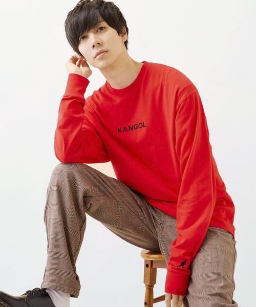KANGOL/カンゴール コラボ 別注ロゴ刺繍 L/S オーバーサイズカットソー 長袖Tシャツ