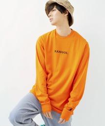 KANGOL/カンゴール コラボ 別注ロゴ刺繍 L/S オーバーサイズカットソー -2021SPRING STYLE-オレンジ