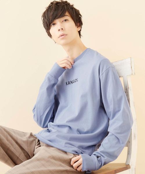 KANGOL/カンゴール コラボ 別注ロゴ刺繍 L/S オーバーサイズカットソー 無地T トップス Tシャツ -2021SPRING STYLE-