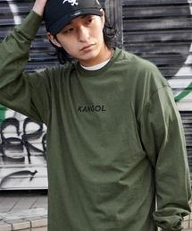 KANGOL/カンゴール コラボ 別注ロゴ刺繍 L/S オーバーサイズカットソー -2021SPRING STYLE-ダークグリーン