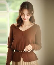 SAISON DE PAPILLON(セゾンドパピヨン)の11色4size裾フレアペプラムニットトップス(ニット/セーター)
