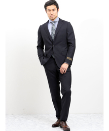 エムエフエディトリアルメンズ/m.f.editorial:Men mf×AT ロロ ピアーナ/Loro Piana シャドーストライプ柄ネイビー 2ピース セットアップビジネススーツ(セットアップ)