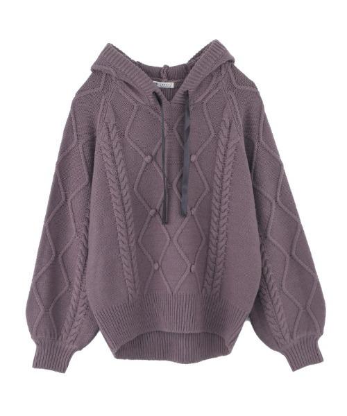 axes femme(アクシーズファム)の「ケーブル編みニットパーカー(ニット/セーター)」 ラベンダー