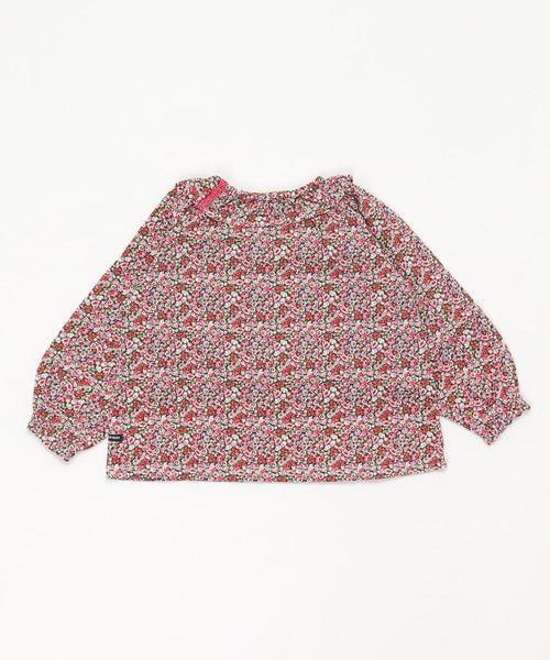 フリル襟花柄Tシャツ