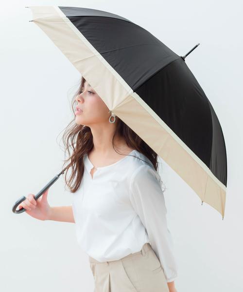 macocca(マコッカ)の「遮光率/遮蔽率100% 超撥水 耐風骨 晴雨兼用傘 makez.マケズ ジャンプ傘 3色切替(長傘)」|ブラック