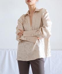 【chuclla】【2021/SS】Crinkle silk like shirt chw1446ライトベージュ