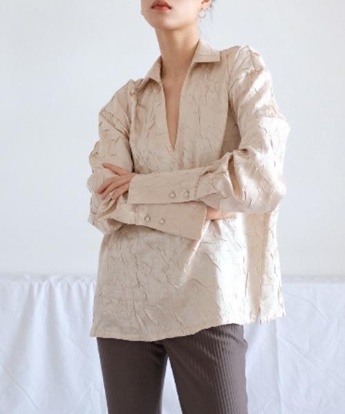 【chuclla】【2021/SS】Crinkle silk like shirt chw1446