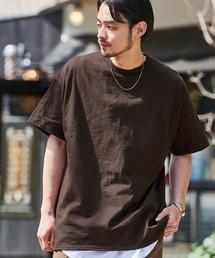 ギルダン ビッグシルエット USAオーバーサイズ 1/2スリーブTシャツ 無地T トップス Tシャツダークブラウン