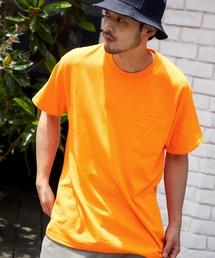 ギルダン ビッグシルエット USAオーバーサイズ 1/2スリーブTシャツ 無地T トップス Tシャツオレンジ系その他3