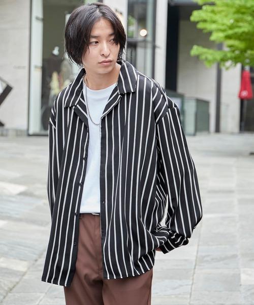 サテンストライプオープンカラーシャツ Long sleeve 長袖