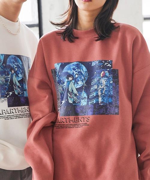 Akane Malbeni/丸紅茜 STRANGER APARTMENTS コラボ イラストプリント ビックシルエットプルオーバースウェット