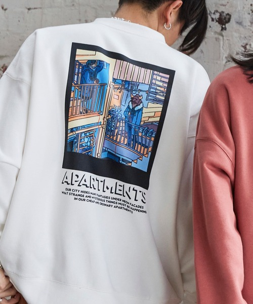 Akane Malbeni/丸紅茜 STRANGER APARTMENTS コラボ イラストプリント ビックシルエット裏起毛プルオーバースウェット