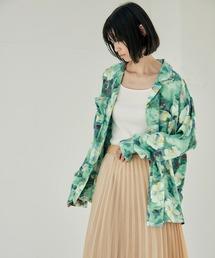 【EMMA】とろみサテンオーバーサイズダブルボタンデザインオープンカラーシャツ/開襟シャツグリーン系その他