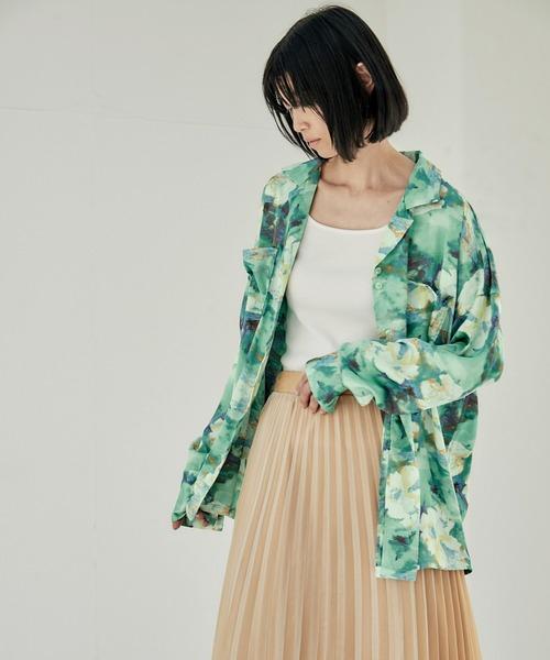 【EMMA】とろみサテンオーバーサイズダブルボタンデザインオープンカラーシャツ/開襟シャツ