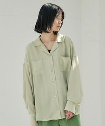 【EMMA】とろみサテンオーバーサイズダブルボタンデザインオープンカラーシャツ/開襟シャツライトグリーン