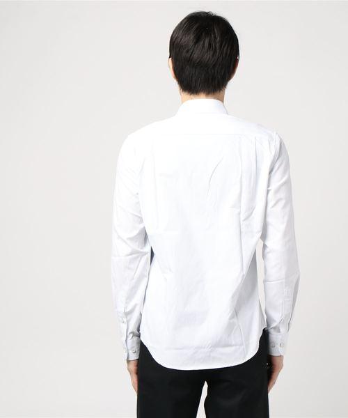 エムエフエディトリアルメンズ/m.f.editorial:MEN オックス縦切替 レギュラーカラー長袖シャツ(グレー・ネイビー)