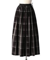 Drawer ウェストリボンチェックギャザースカート