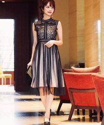 Fashion Letter(ファッションレター)のレース切り替えチュールスカートドレス(ドレス)