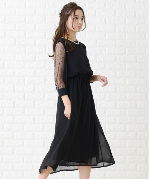 645b1094cec76 Lace Ladies(レースレディース)のドットチュール袖ワンピース・ドレス(ドレス)