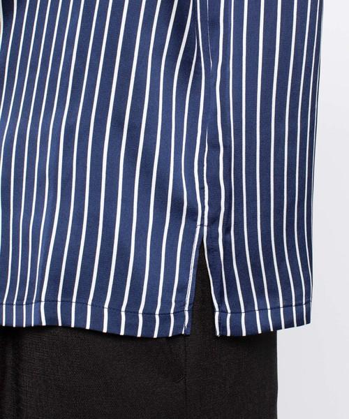 オーバーサイズオープンカラーストライプシャツ