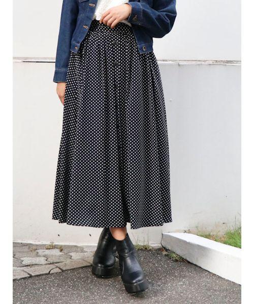 6eaf2a1cd1d46b dazzlin(ダズリン)の「フロントボタンマキシスカート(スカート)」 ブラック