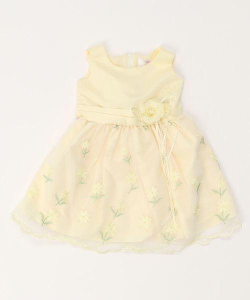7c10f62f9fc78 motherways(マザウェイズ)のガールズ コサージュ付 フラワー刺繍 袖無パーティードレス(ドレス)