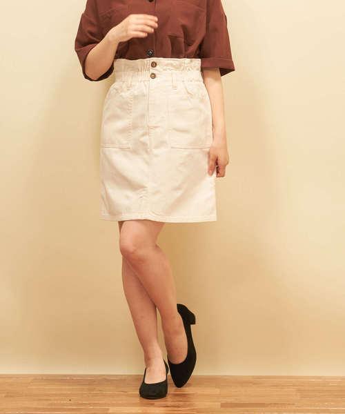 シャーリング台形スカート