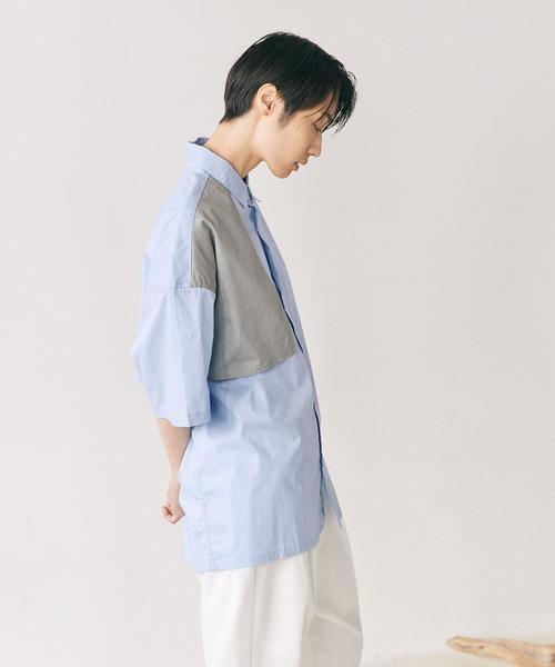 オーバーサイズ トレンチヨーク配色デザイン S/Sシャツ EMMA CLOTHES 2021SS