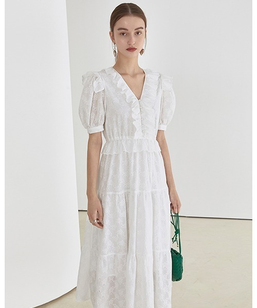 【Fano Studios】【2021SS】White frill tiered dress FX21L046
